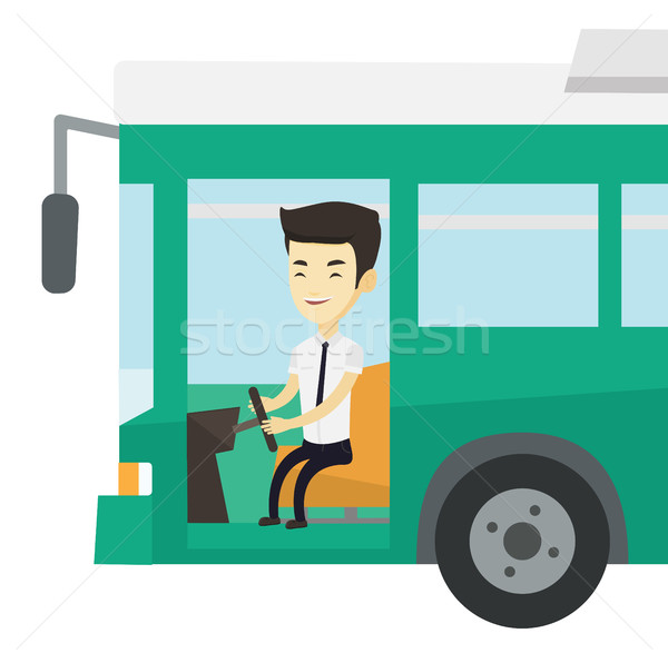 ázsiai busz sofőr ül kormánykerék fiatal Stock fotó © RAStudio