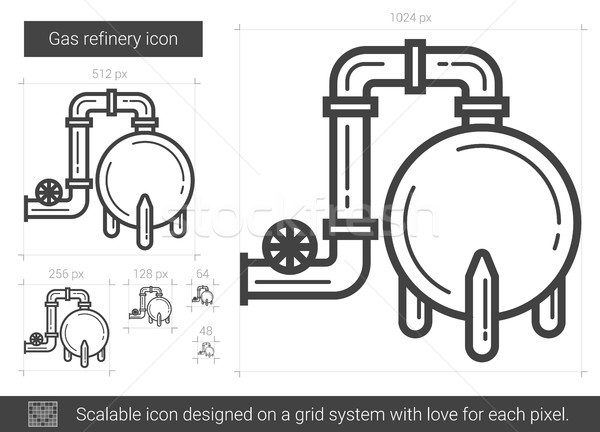Gas refinery line icon. Stock photo © RAStudio