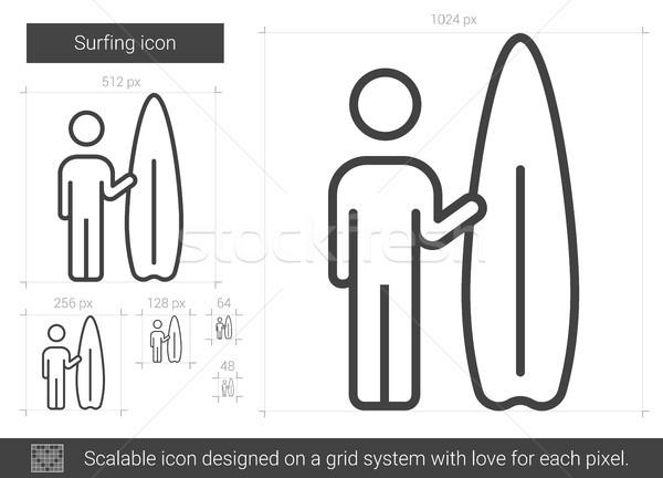 Surfing line icon. Stock photo © RAStudio