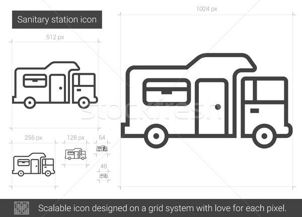 санитарный станция линия икона вектора изолированный Сток-фото © RAStudio