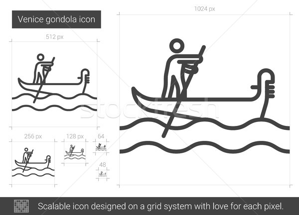 Góndola línea icono vector aislado blanco Foto stock © RAStudio