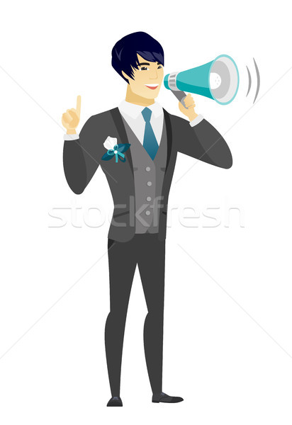 Young asian groom making announcement . Stock photo © RAStudio