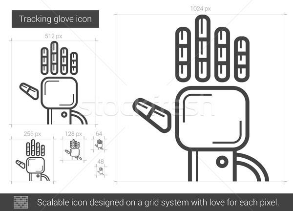 перчатка линия икона вектора изолированный белый Сток-фото © RAStudio