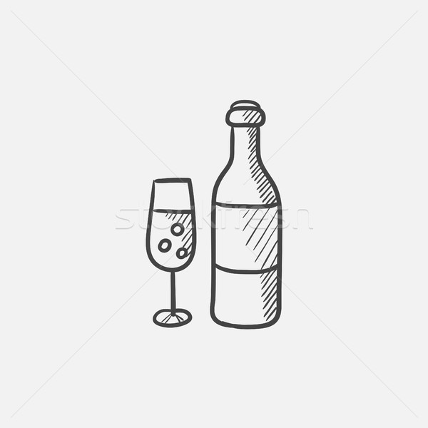 Bottle and glass of champagne sketch icon. Stock photo © RAStudio