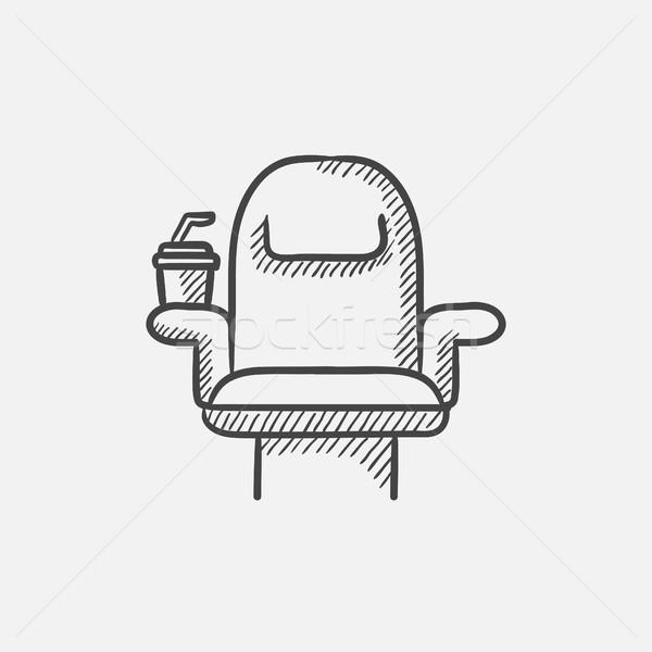 Cinema cadeira descartável copo esboço ícone Foto stock © RAStudio