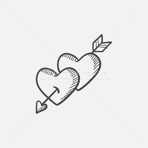 Two hearts pierced with arrow sketch icon. Stock photo © RAStudio