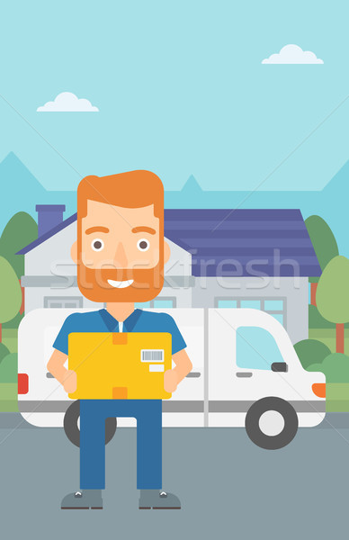 Man delivering box. Stock photo © RAStudio