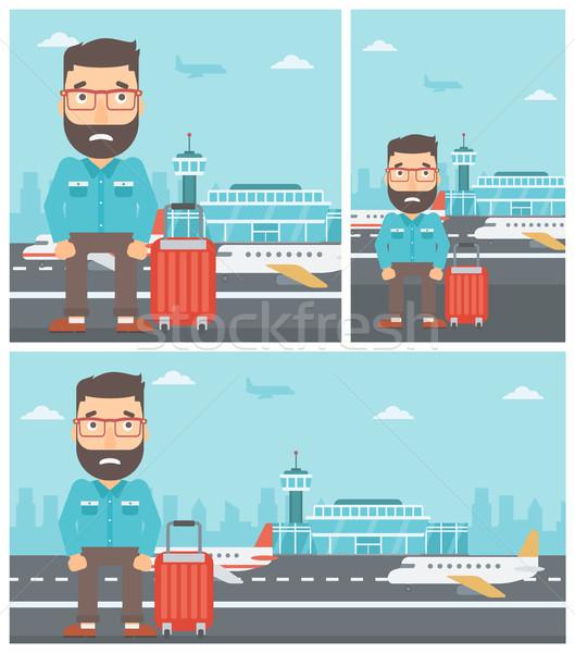 человека страдание страхом Flying борода Сток-фото © RAStudio