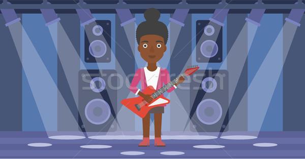 Müzisyen oynama elektrogitar kadın sahne vektör Stok fotoğraf © RAStudio