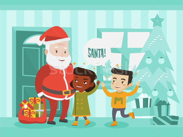 Multicultural children meeting Santa Claus. Stock photo © RAStudio