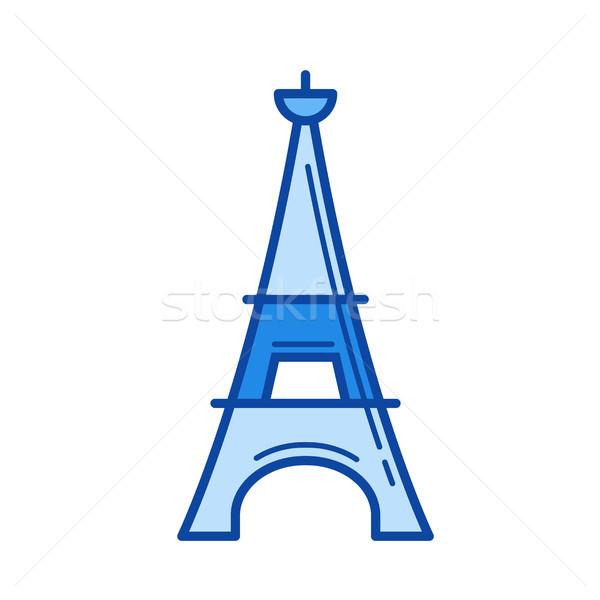Eyfel Kulesi hat ikon vektör yalıtılmış beyaz Stok fotoğraf © RAStudio