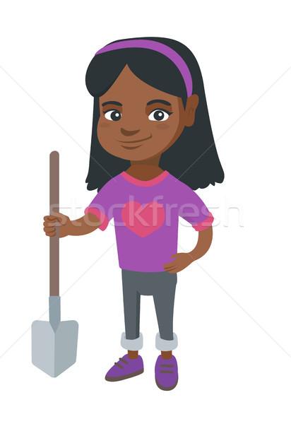 Gülen kız kürek tam uzunlukta küçük kız Stok fotoğraf © RAStudio