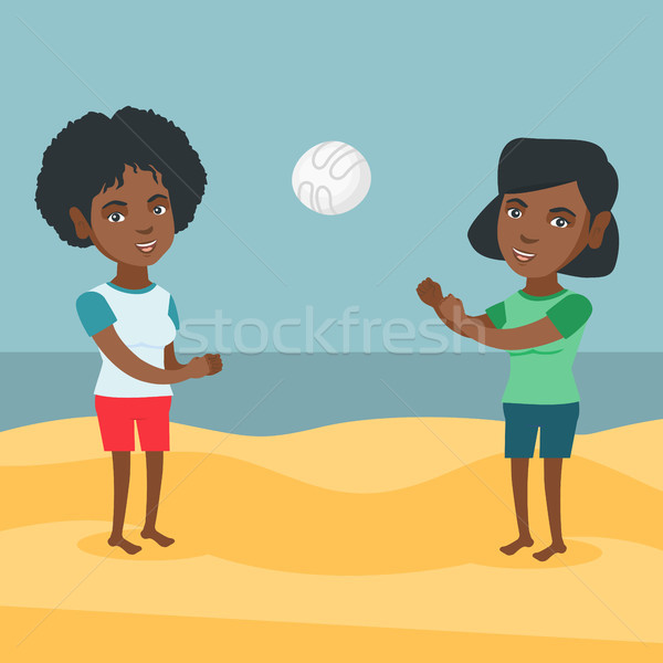 Mulheres jogar praia voleibol dois jovem Foto stock © RAStudio