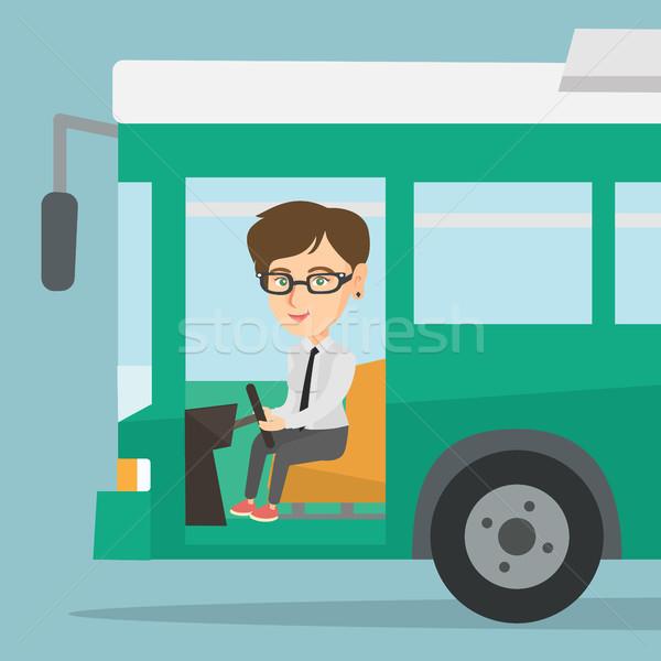 Kaukasisch bus bestuurder vergadering stuur jonge Stockfoto © RAStudio