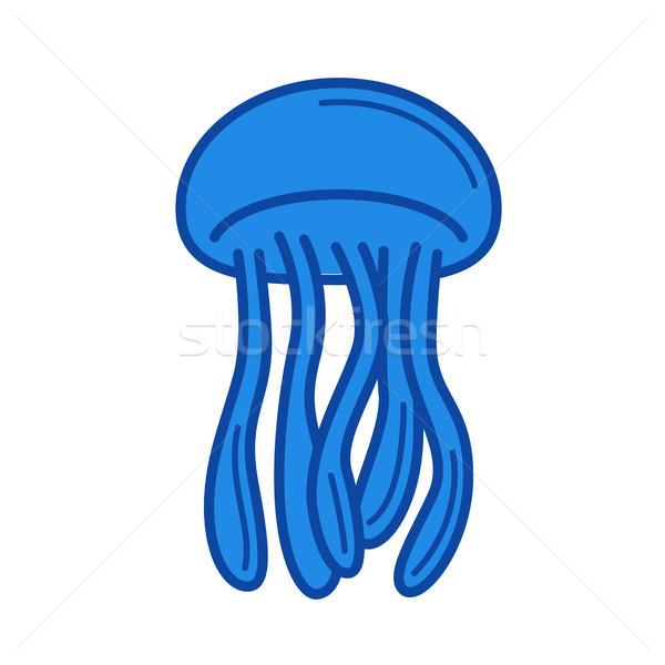 Meduza vonal ikon izolált fehér infografika Stock fotó © RAStudio