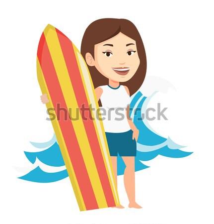 Surfer tavola da surf giovani asian donna Foto d'archivio © RAStudio