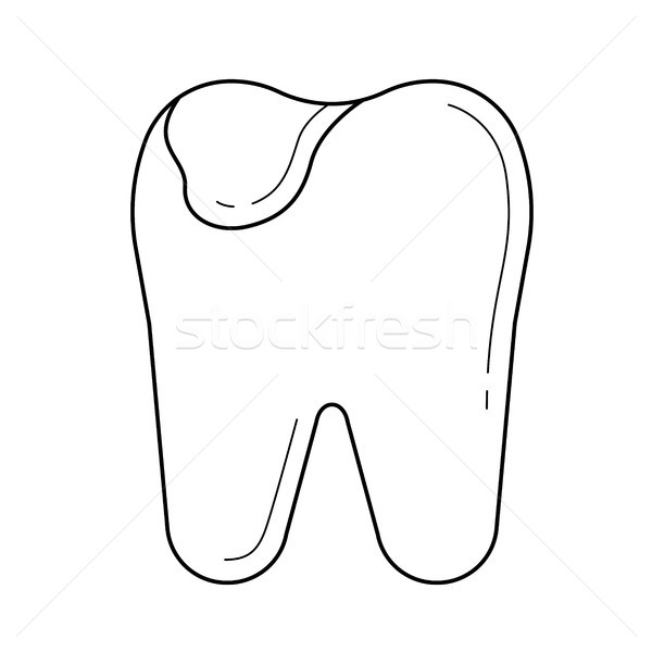 Stock photo: Tooth caries line icon.