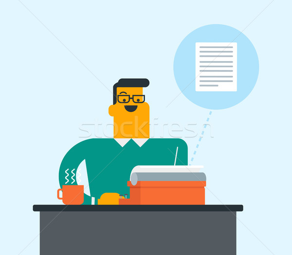 Caucasian white journalist typing on typewriter. Stock photo © RAStudio