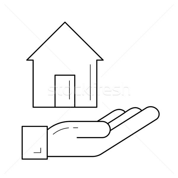 дома собственности линия икона вектора изолированный Сток-фото © RAStudio