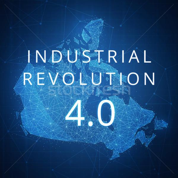 Quatrième industrielle révolution polygone Canada carte Photo stock © RAStudio