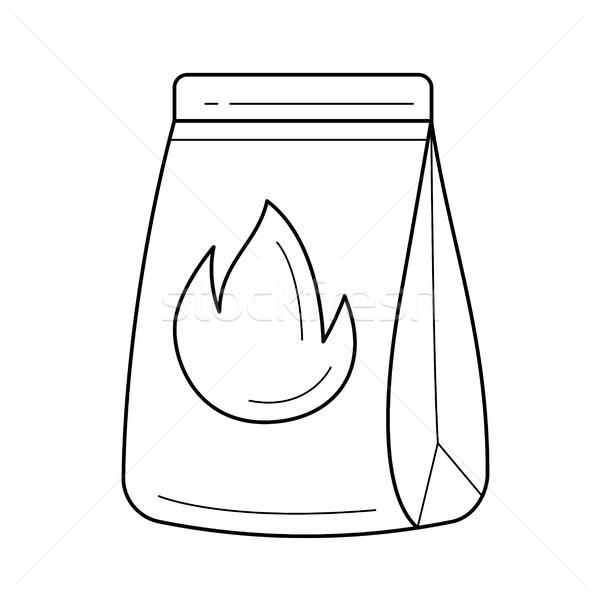 Grill charcoal vector line icon. Stock photo © RAStudio
