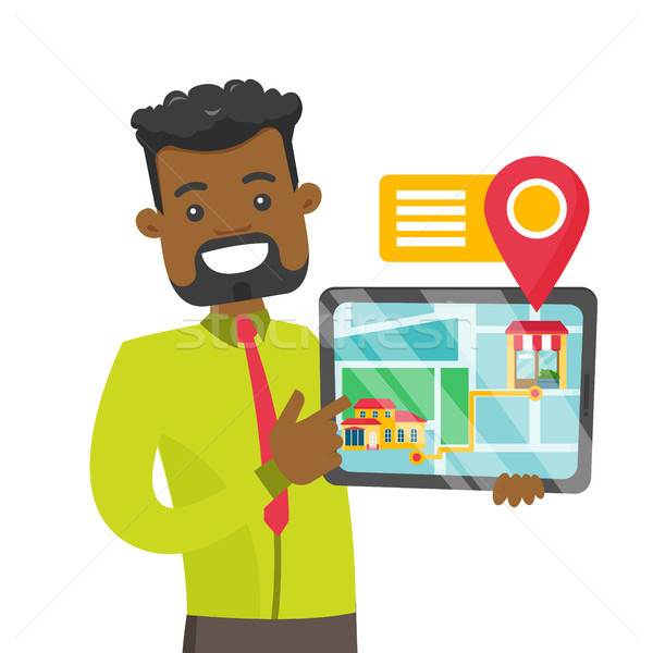 African real estate agent showing house location. Stock photo © RAStudio