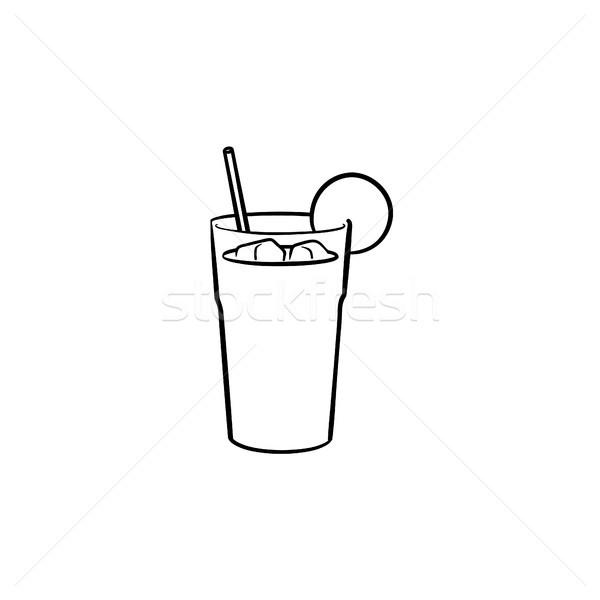 Stockfoto: Sinaasappelsap · stro · schets · icon · schets