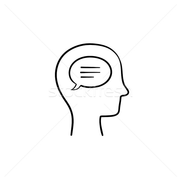 Think bubble in humans head hand drawn outline doodle icon. Stock photo © RAStudio