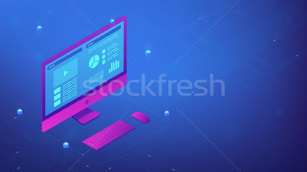 Personal computer interface. Isometric vector 3d illustration. Stock photo © RAStudio