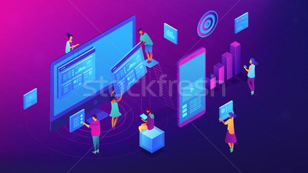 Isometric content marketing team illustration. Stock photo © RAStudio