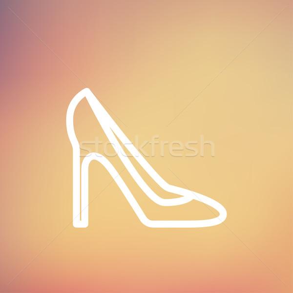 Lady high heel shoe thin line icon Stock photo © RAStudio