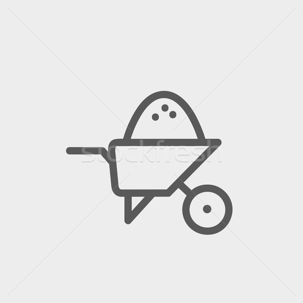 Wheelbarrow full of sand  thin line icon Stock photo © RAStudio