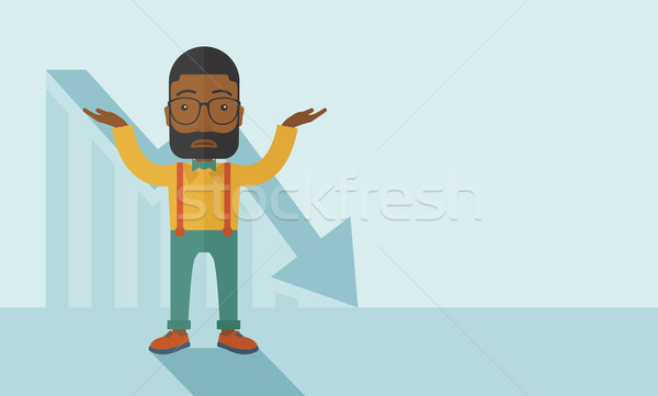 Guy raising his arms with arrow down graph. Stock photo © RAStudio
