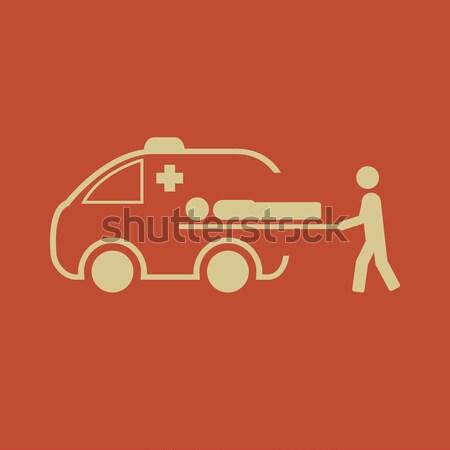 Man ambulance auto dun lijn icon Stockfoto © RAStudio