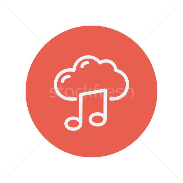 Felhő dallam vékony vonal ikon háló Stock fotó © RAStudio