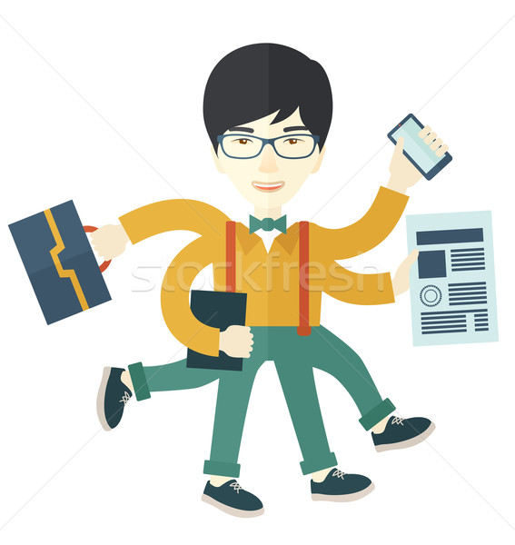 Chinese guy with multitasking job. Stock photo © RAStudio