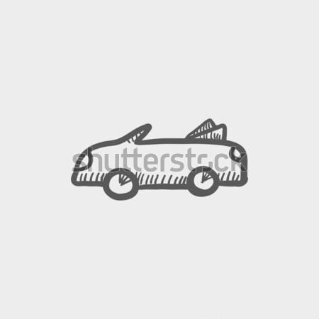 ストックフォト: 車 · アイコン · スケッチ · ウェブ · 携帯 · 手描き