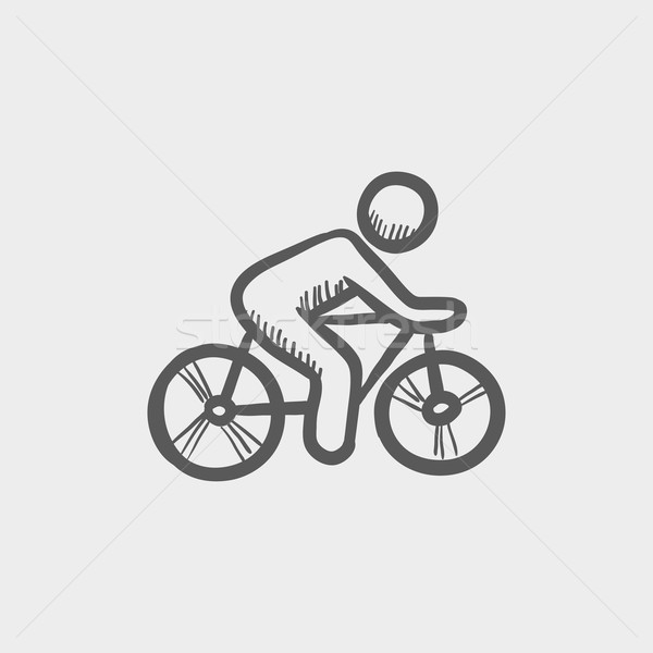 Sports bike and rider sketch icon Stock photo © RAStudio