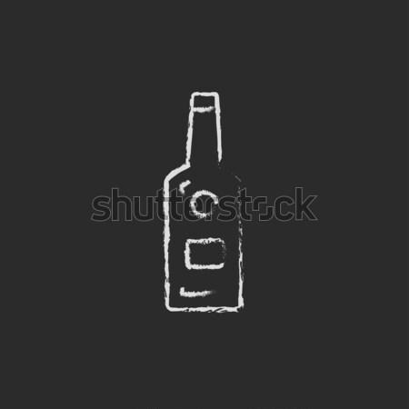 Vetro bottiglia icona gesso Foto d'archivio © RAStudio