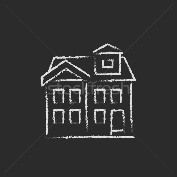 Two storey detached house icon drawn in chalk. Stock photo © RAStudio