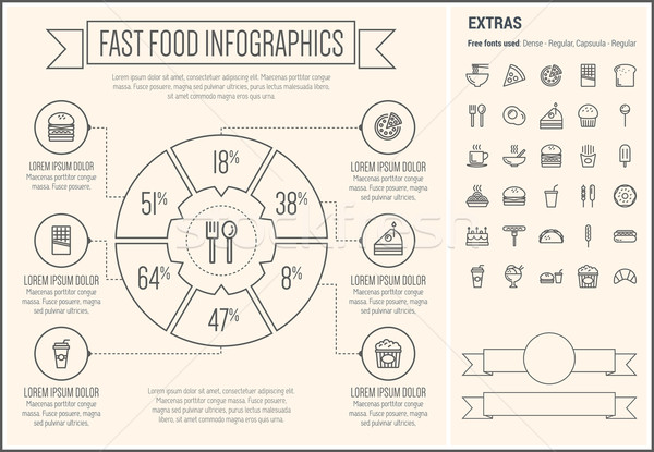 Stock photo: Fast Food Line Design Infographic Template
