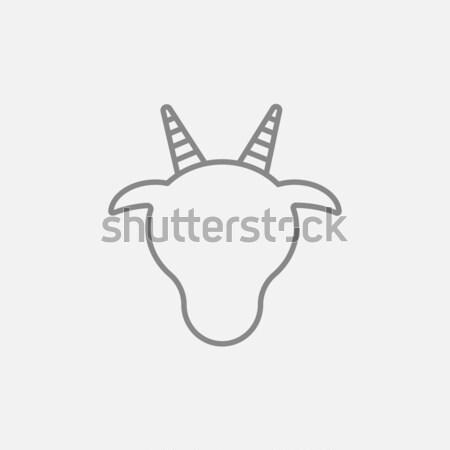 Vaca cabeça linha ícone teia móvel Foto stock © RAStudio