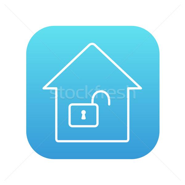 Casa abrir trancar linha ícone teia Foto stock © RAStudio