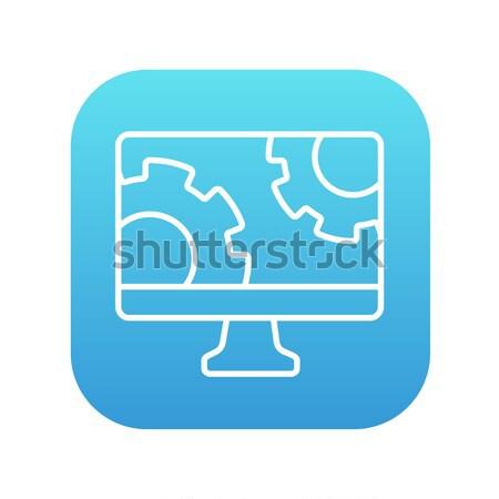 Monitor komputerowy narzędzi line ikona internetowych komórkowych Zdjęcia stock © RAStudio