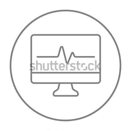 Szívverés monitor vonal ikon háló mobil Stock fotó © RAStudio