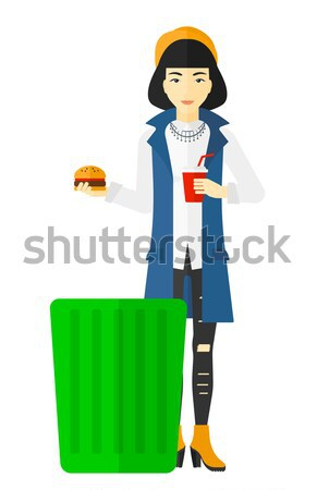 Woman holding tablet computer with social media source. Stock photo © RAStudio
