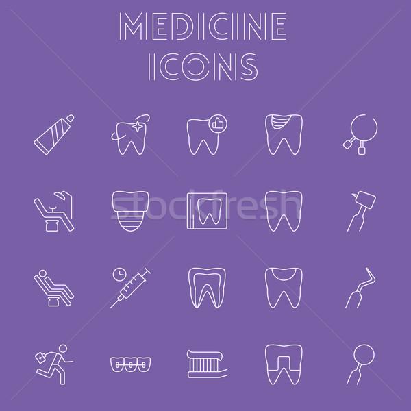 Gyógyszer ikon gyűjtemény vektor fény lila ikon Stock fotó © RAStudio