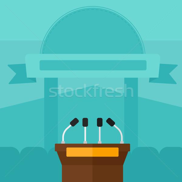 Background of tribune speech with microphones. Stock photo © RAStudio