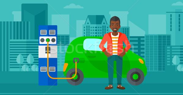 Carro elétrico homem cidade vetor projeto ilustração Foto stock © RAStudio