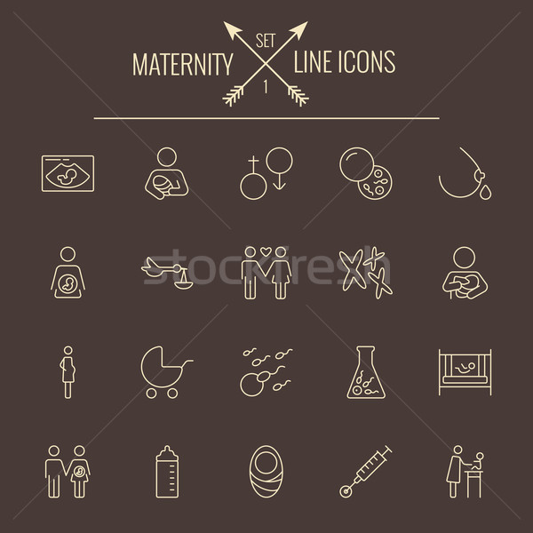 Maternity icon set. Stock photo © RAStudio
